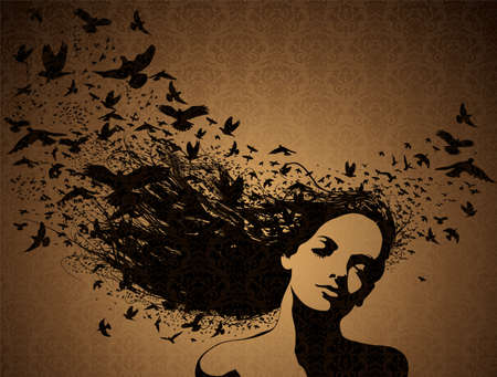 artistic nude: Portrait of Woman with birds flying from her hair.