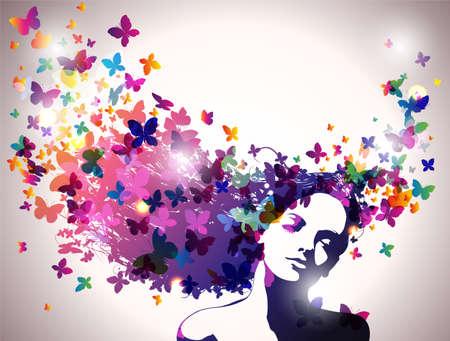 mujer: Mujer con mariposas en el pelo. Vectores