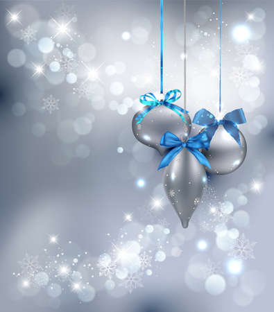 silver christmas: Christmas Background with ornaments. Vector Illustration.