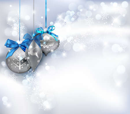 traditional silver wallpaper: Christmas Background with ornaments. Vector Illustration.
