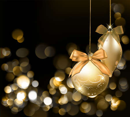 Golden Christmas lights background with ornaments. Vector Illustration.  Vector