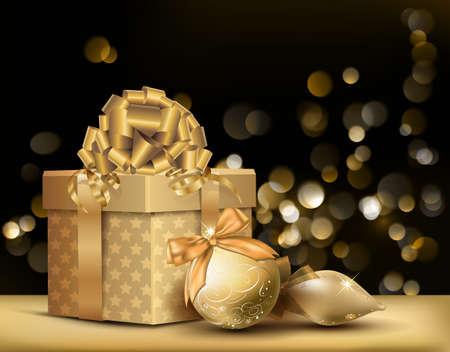 navidad elegante: De oro de Navidad de fondo. Ilustración vectorial.