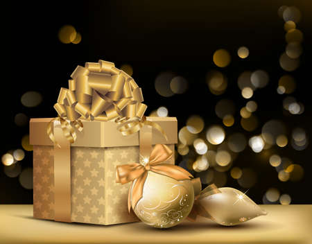 baubles: Golden Christmas Background. Vector Illustration.