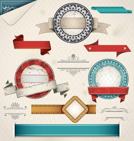 scroll border: Vintage Grungy Design Elements. Vector Illustration.