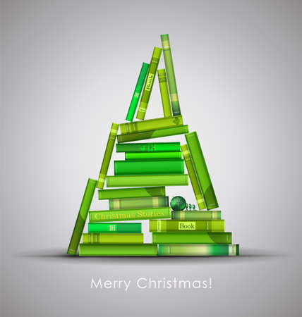 formed: Christmas Stories. Christmas tree formed from books. Vector Illustration.