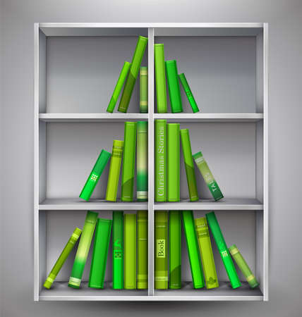 formed: Christmas Stories. Christmas tree formed from books on the bookshelf. Vector Illustration.