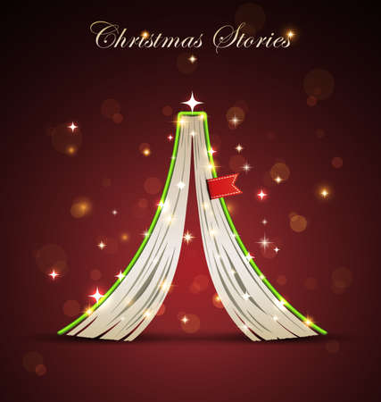 Creative Christmas tree formed from open upside down book. Vector Christmas  Illustration. Vector