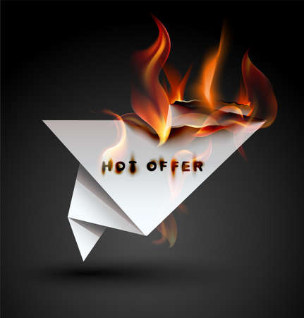 Burning paper Origami banner. Hot Offer.  Vector