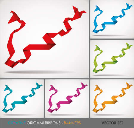 origami bird: Creative Paper Origami Ribbons-Banners. Vector Set. Illustration.