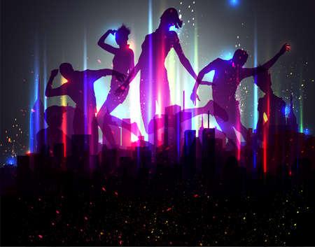 donna che balla: Partito Background. Illustrazione Vettoriale. EPS10.