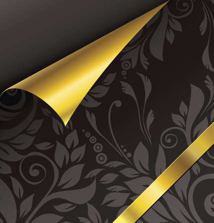 wallpaper pattern: Gold curled corner.