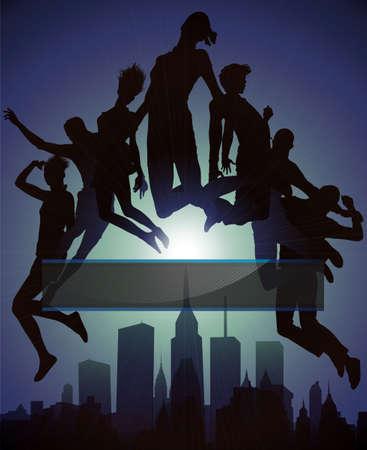 urban youth: Jumps over City, vector illustration.  Illustration