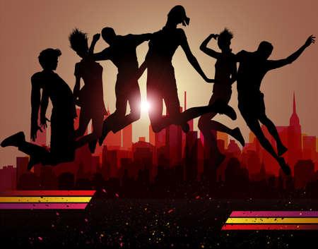 hip hop dance pose: Saltos sobre la ciudad. Partido de fondo, ilustraci�n vectorial.