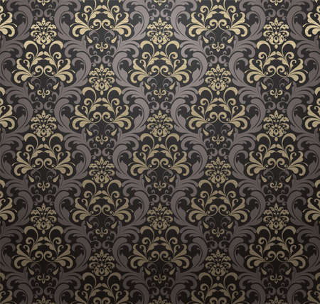 antique wallpaper: Damask patterned drapery Background. Vector Illustration.