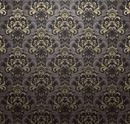 antiek behang: Damast patroon gordijn Achtergrond. Vector Illustratie.