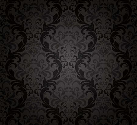 seamless damask: Fondo de pantalla negro.