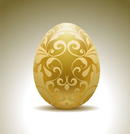 easter egg: Golden egg with floral decoration.  Illustration