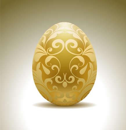 osterei: Goldenes Ei mit Blumenschmuck.