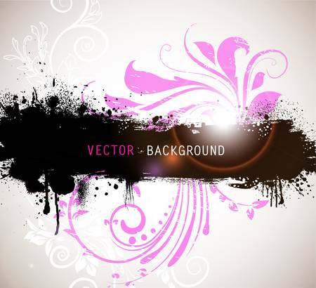 Grunge banner with floral background  Vector