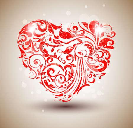 dessin coeur: Red coeur floral grunge Illustration