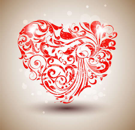 filigree background: Red floral grunge heart