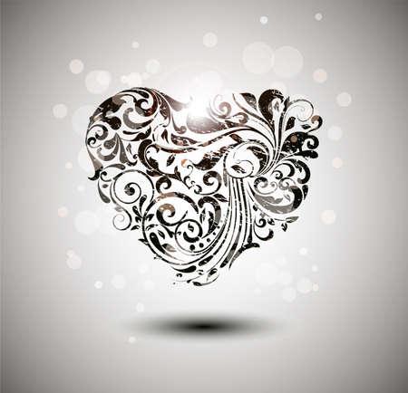 dessin coeur: Coeur grunge floral. Illustration