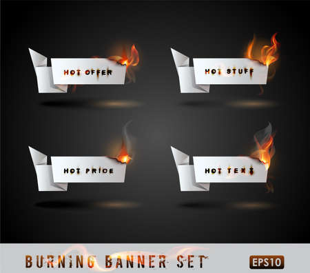 Burning paper Origami banner Set. Vector Illustration.  Vector