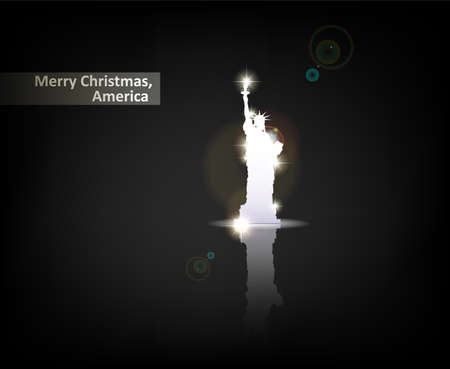 newyork: Merry Christmas, America. From Serial of minimalistic contemporary Greeting Christmas Cards.  Illustration