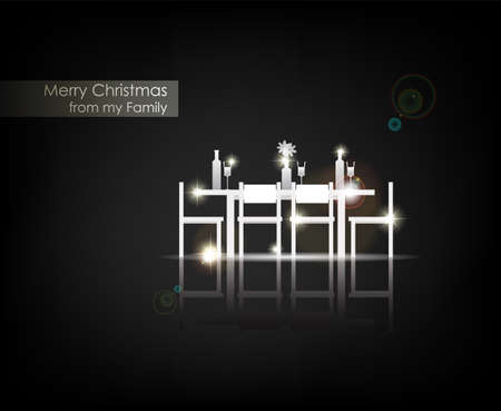 Merry Christmas from my Family. From Serial of minimalistic contemporary Greeting Christmas Cards.  Vector
