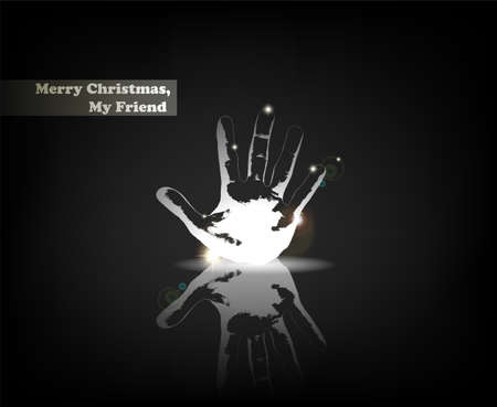 Merry Christmas, My Friend. From Serial of minimalistic contemporary Greeting Christmas Cards.  Vector