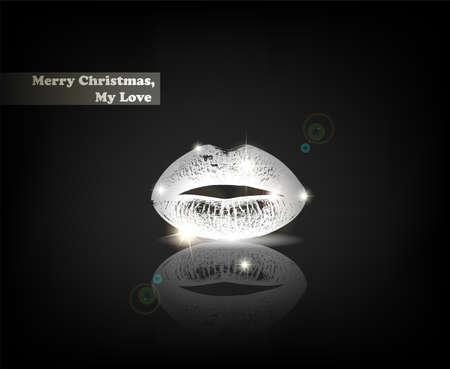 """kiss lips: """"Feliz Navidad, mi amor"""". De serie de tarjetas minimalista contempor�neo felicitaci�n de Navidad."""