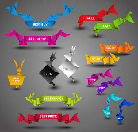 web page elements: Creative Origami Web Collection. Vector Illustration.