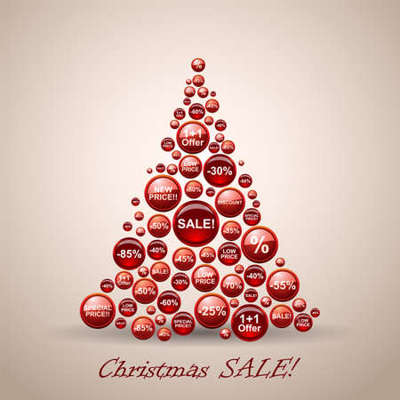 Christmas Sale Tree.  Vector