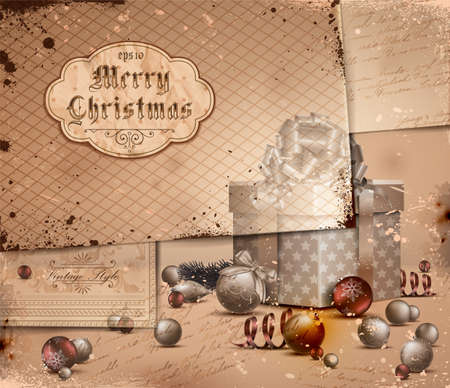 Vintage Christmas Illustration with grungy layered old papers.  Vector