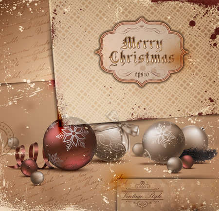 Vintage Christmas Illustration with grungy layered old papers. Stock Vector - 11665596
