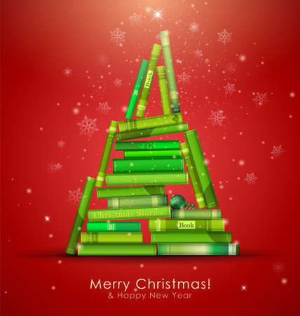 Christmas Stories Collection. Christmas tree formed from books.  Vector