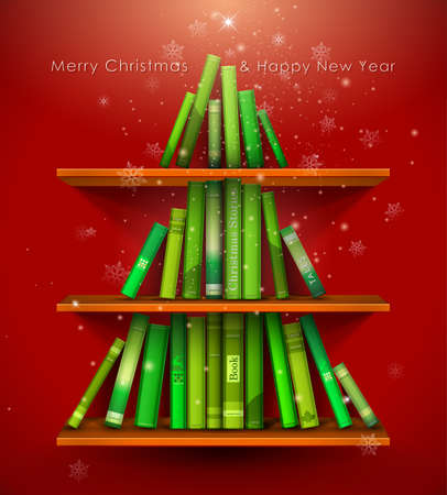 formed: Collection of Christmas Stories. Christmas tree formed from books on the bookshelf. Vector Illustration.  Illustration