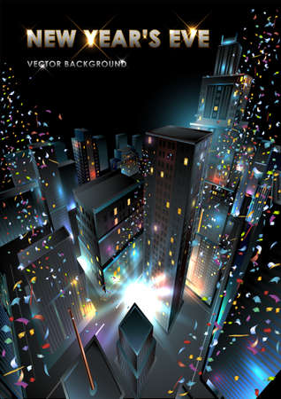 New Years Eve in downtown.  Vector