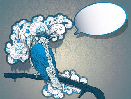 linocut: Vintage Hand Drawn Bird with speech bubble