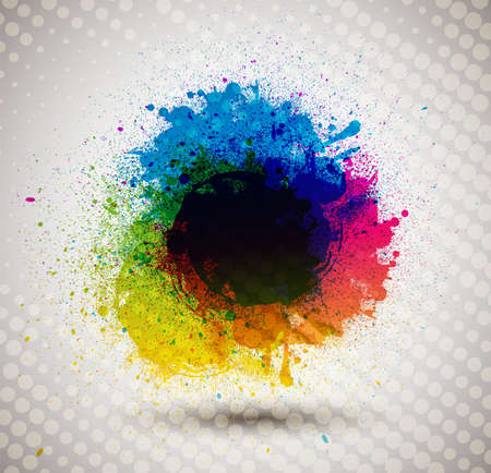 splatter paint: Colorful ink splash banner   Illustration