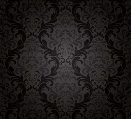 seamless damask: Fondo de pantalla negro Vectores