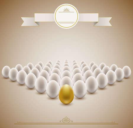 fortune concept: Golden egg concept background   Illustration
