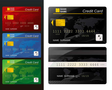 Set of Credit card.  Vector