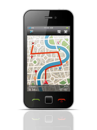 gps: Smartphone with Navigation.  Illustration