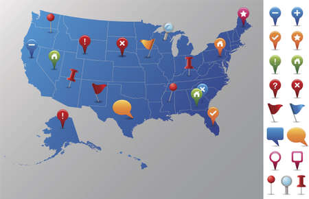 USA Map with GPS Icons  Every state is in its own shape   Vettoriali