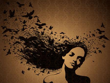 Porträt der Frau mit fliegenden Vögeln aus ihrem Haar