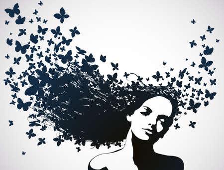 donna farfalla: Donna con farfalle che volano da capelli Vettoriali