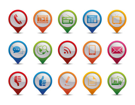 mobile communication: Communication icons in the form of GPS icons