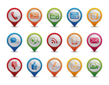 Los iconos de la Comunicación en la forma de los iconos de GPS
