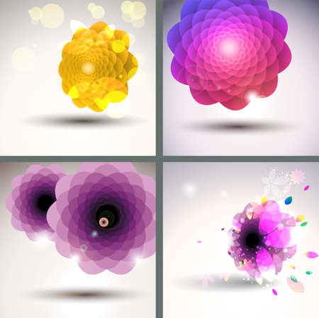 Abstract flower backgrounds singe flower set   Stock Vector - 12810053